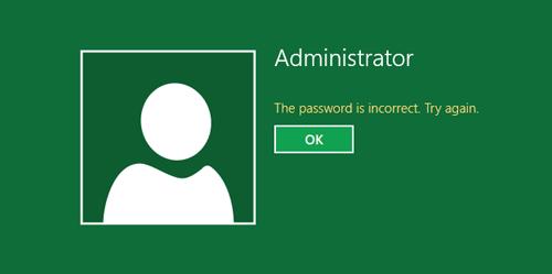 administrator password incorrect windows 10