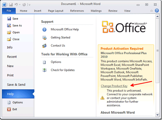 microsoft office word 2010 product key