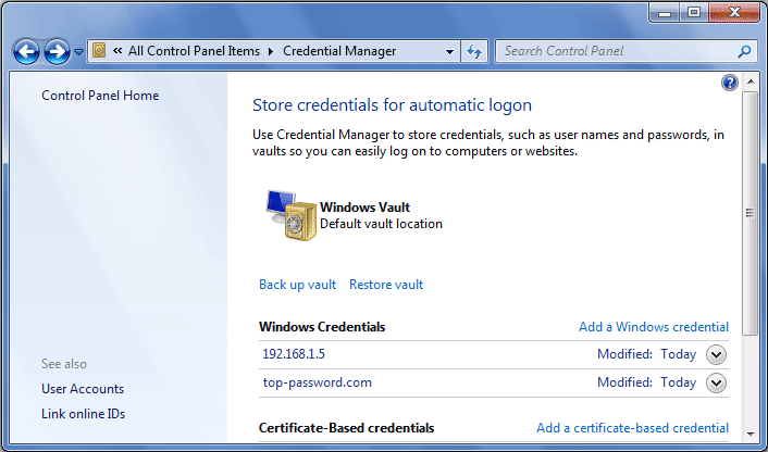 Backup and Restore Saved Passwords in Windows Vault