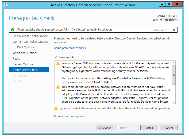 To install active directory in windows server 2012 password recovery