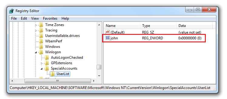 how to change registry entry in windows 7
