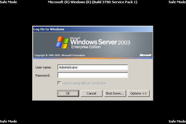 resetting administrator password in windows 2003