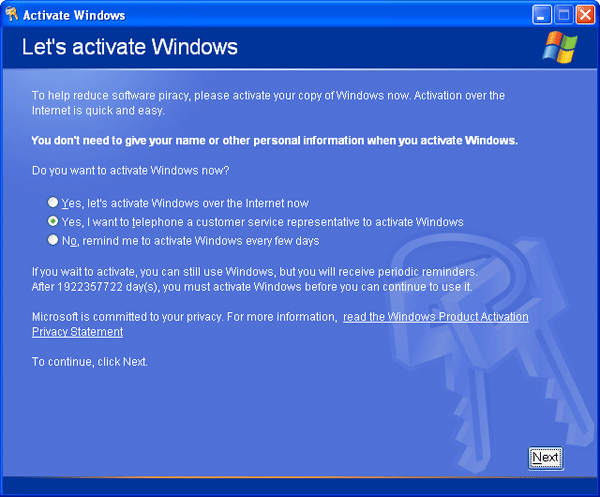 How to change windows xp product key after install for Window xp key