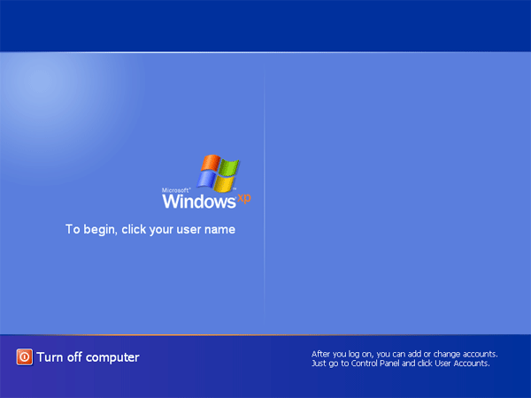 No user accounts at Windows Welcome screen