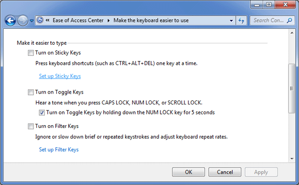 How to Disable the Sticky Keys in Windows 8/7/Vista