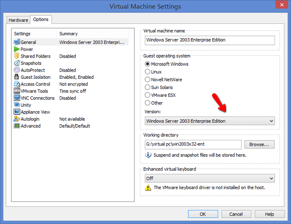 vmware-settings