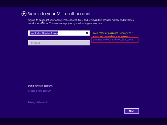 continue without microsoft account