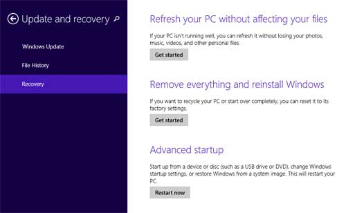 2 Options to Reset Windows 8 Tablet to Factory Settings