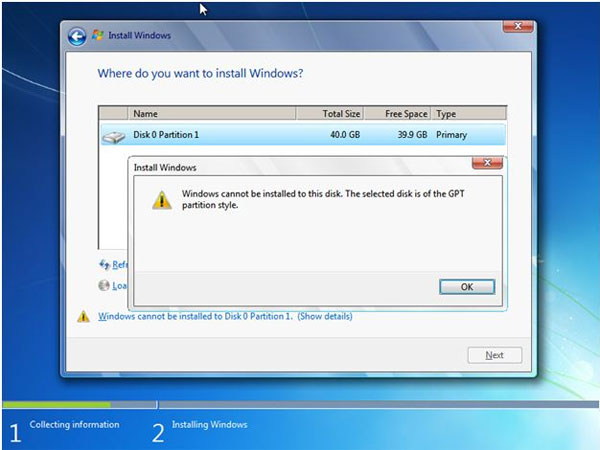 windows 7 cannot install on GPT disk