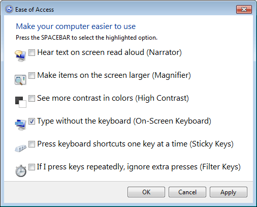 on screen keyboard shortcut login