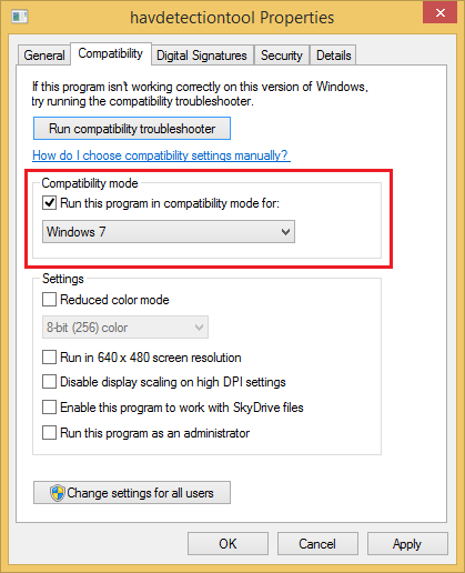 how to change the compatibility mode in windows 8