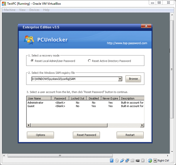 virtualbox boot from usb password recovery