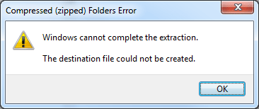 "Fix the Error ""Windows cannot complete the extraction  The"