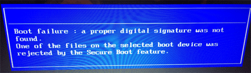 Fix Boot Failure: a proper digital signature was not found