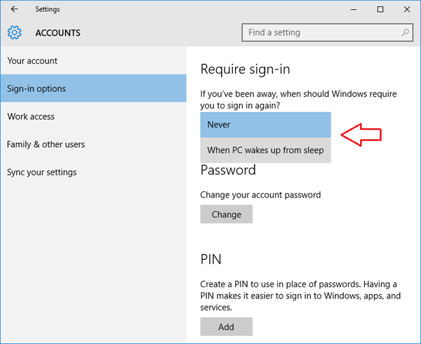 windows xp prompt for password on resume