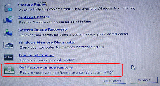how to restore my dell laptop back to factory settings