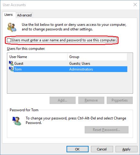 bypass login screen windows 10
