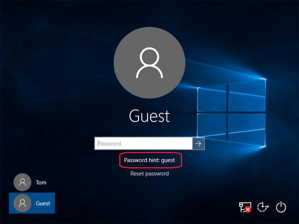 how to change password hint windows 10