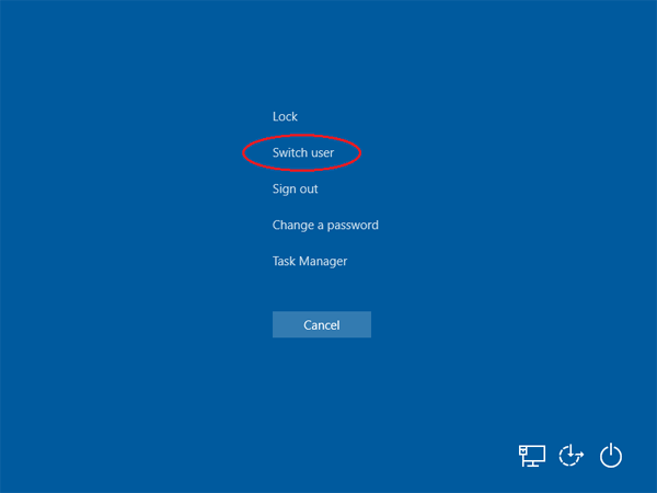 win10 login as another user