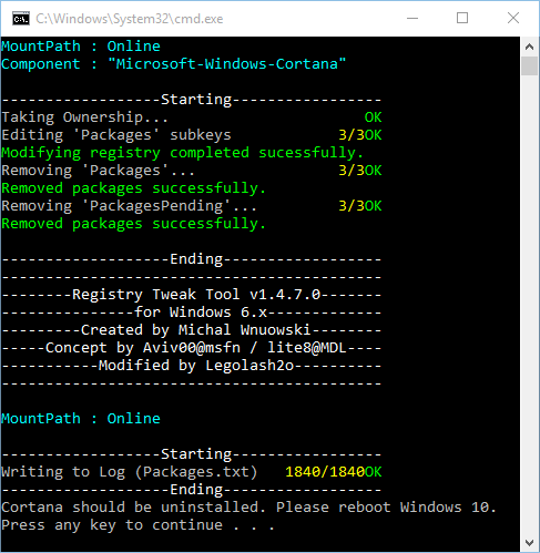 remove-cortana-package
