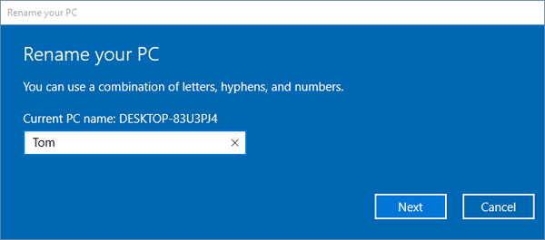how to know hostname in windows 10