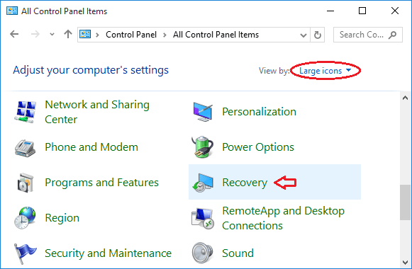 using windows 10 recovery usb
