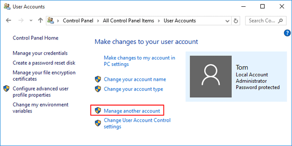 click the manage another account link