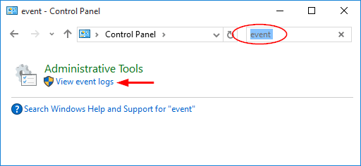 search-event-in-control-panel