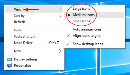 windows 10 how to change desktop icon size
