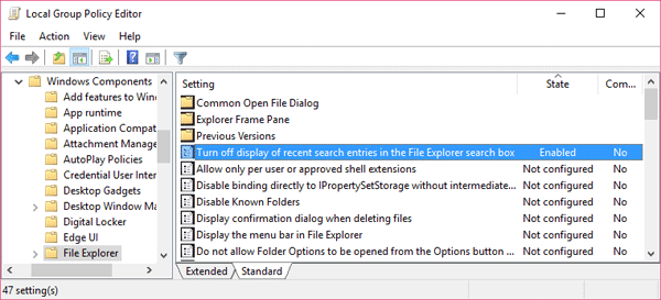 Delete or Disable Recent Search Entries History in Windows ...
