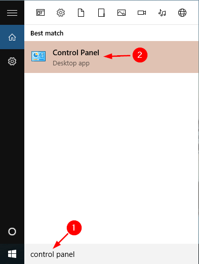 open-control-panel-via-cortana