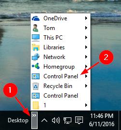 open-control-panel-via-taskbar