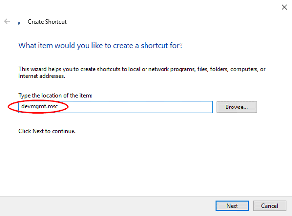 shortcut-for-devmgmt