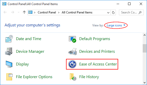ease-of-access-center