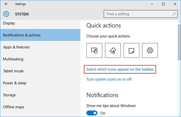 how to get power icon back on taskbar windows 10