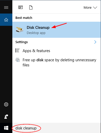 Image result for windows 10 disk cleanup search