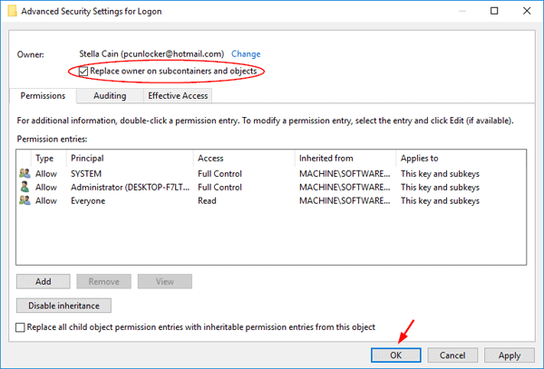how to change ownership windows 10