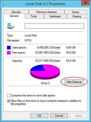 How to enable disk cleanup, and recover disk space on windows server.