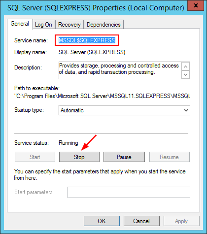 stop-sql-server-service