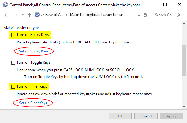 How to Disable Sticky / Filter Keys Permanently in Windows