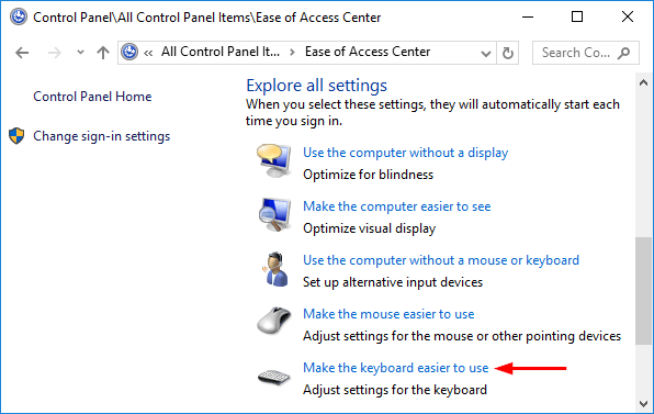 How to Disable Sticky / Filter Keys Permanently in Windows 10