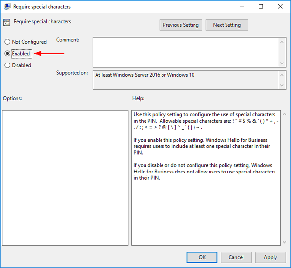 how to change win 10 pin requirements