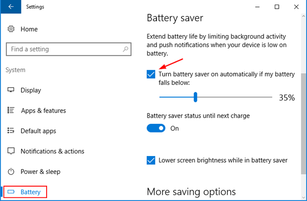 How to Turn On / Off Battery Saver in Windows 10 | Password
