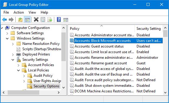 accounts administrator account status not working