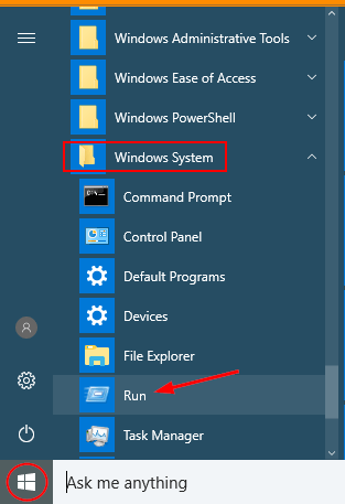 open-run-from-start-menu