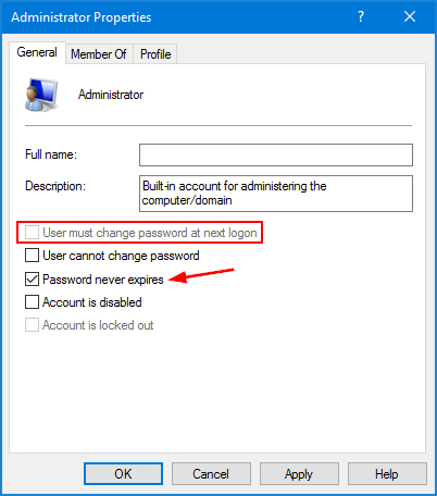 Windows 10 change password policy greyed out