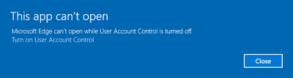 Microsoft Edge Cant Be Opend Using The Build In Administrator Account