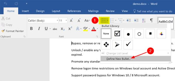 Insert Clickable Checkbox In Word Password Recovery