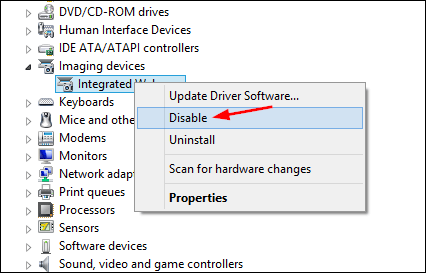 Once the device manager window opens expand imaging devices or