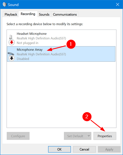 Choose the use this device enable option under the device